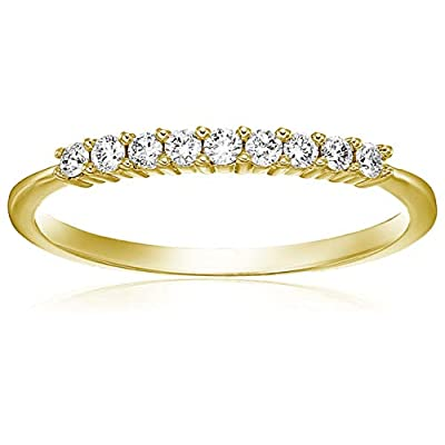This style can be made in additional ring sizes and metal. Please contact us 30 Day Easy Returns. Jewelry Gift Box Included 14K Yellow Gold ; Diamond Carat Weight: 1/5 cttw 9 Stones Prong Set Diamond Band This style can also be engraved. Please searc...