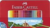 Faber-Castell 115894 - Estuche Castle de metal con 60 lápices de color, con forma hexagonal, Rojo