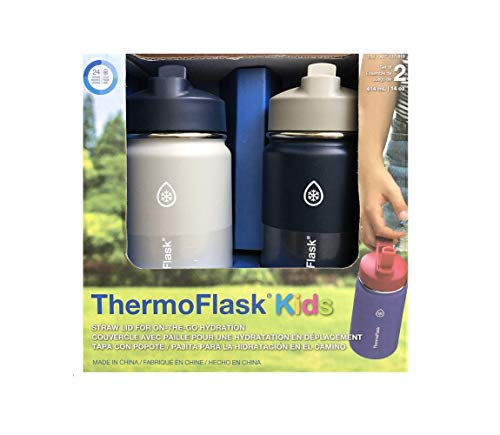 Thermoflask Stainless Steel Kids 14oz Straw Bottle 2pk HarborGrey,Denim