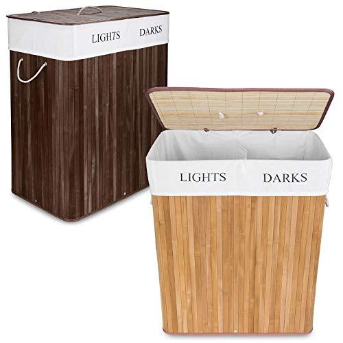 GOODS+GADGETS Wäschekorb aus Bambus, 100 L Wäschesammler Wäschebox 2 Fächer, Wäschesortierer mit Wäschesack herausnehmbar, rechteckige Wäschebox 63x52x32cm; Natur