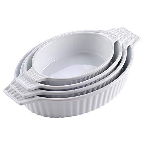 MALACASA, Series Bake, Set da 4 Teglia da Forno (9.5'/11.25'/12.75'/14.5'), Teglia Ovale con Manici...