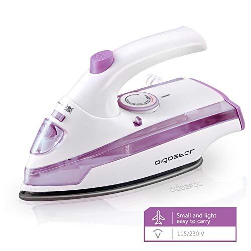 Aigostar Purpletravel 31HHM - Piccolo ferro da stiro da viaggio, Doppia tensione Pieghevola,...