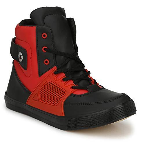Parmar foot style Men's Casual Sneaker Hip Hop Shoe_7 UK Red Black