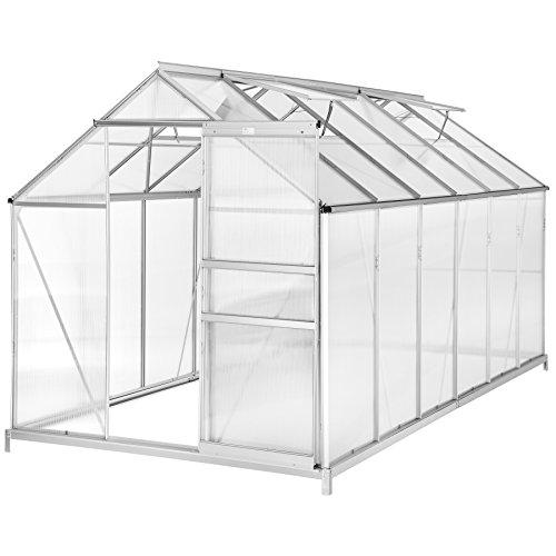 TecTake Serre de Jardin avec Base alu Polycarbonate Tente abri Plante Jardinage - diverses modèles (375x185x195cm avec Base   No. 402478)
