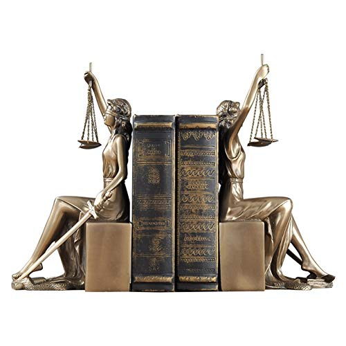 YB&GQ Lady Scales of Justice Statue,Roman Goddess Bookends Resin Figurine Great for Lawyer Attorney Judge Sculpture,Bronze Finish-Golden 11x13.5x26cm(4x5x10inch)
