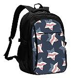 XCNGG Mochila USB con múltiples Bolsillos, Mochila Informal, Mochila Escolar American Stars Travel Laptop Backpack with USB Charging Port Multifunction Work School Bag