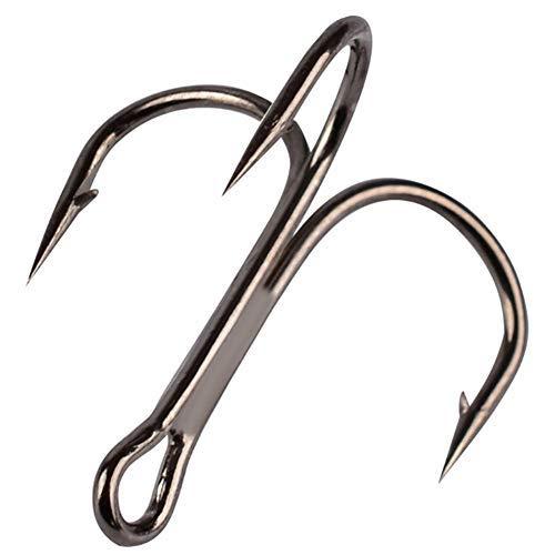 00Pcs Classic Treble Hooks Strong Sharp Round Bend Fishing Hooks Set High Carbon Steel Hooks for...