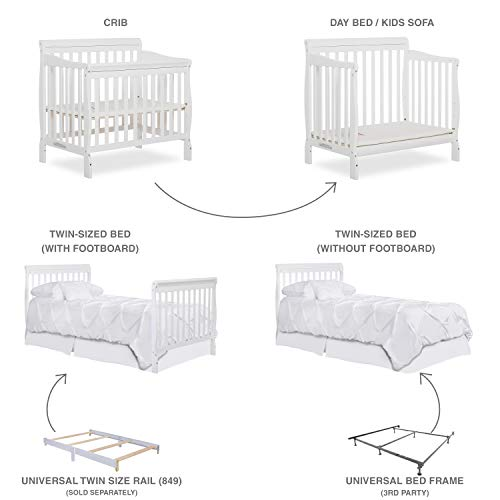 Product Image 3: Dream On Me Aden 4-in-1 Convertible Mini Crib in White, Greenguard Gold Certified