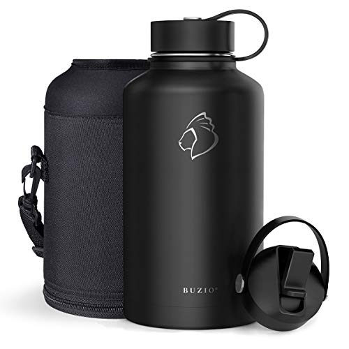 BUZIO Vacuum Insulated Stainless Steel Water Bottle 64oz (Cold for 48 Hrs/Hot for 24 Hrs) BPA Free Double Wall Travel Mug/Flask for Outdoor Sports Hiking, Cycling, Cam,Camping, Running, Neon