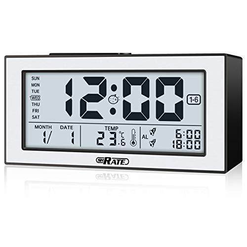 Digital Alarm Clock, SHRATE Visible at night clocks, Large Digital Display with Optical Smart Sensing Technology/Temperature/12/24Hr//Volume Adjustable for Bedrooms, Home Office, Travel(Black)
