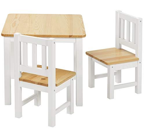 ♥ BOMI Stabile Kindersitzgruppe Amy 2 Stühle u. Tisch aus Kiefer Massiv Holz für Kleinkinder, Mädchen und Jungen Natur Weiß