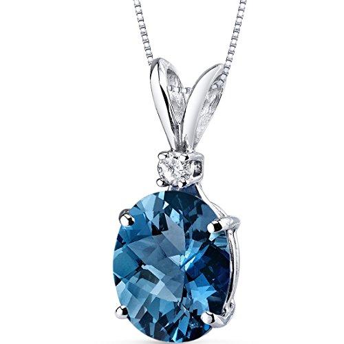 Peora London Blue Topaz with Genuine Diamond Pendant in 14K...