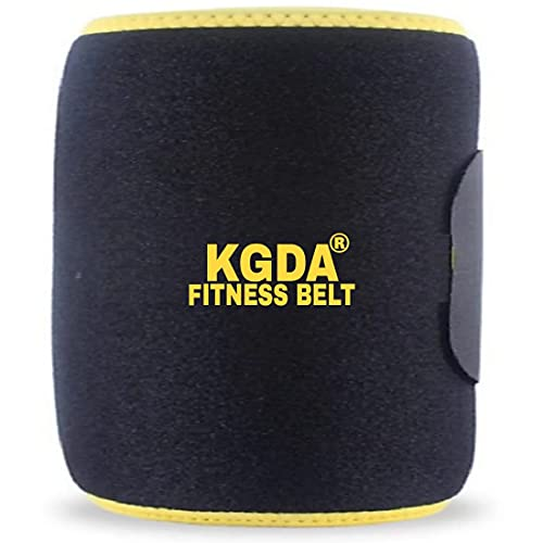KGDA™ Hot Shaper Sweat Slim Belt Fat Burning Sauna Waist Trainer - Promotes Healthy Sweat, Weight Loss & Tummy Trimming Exercise , Lower Back Posture(Free Size)(Men & Women)-Yellow