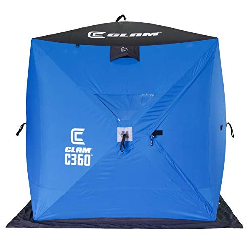 CLAM 14474 C-360 2-3 Person 6 Foot Lightweight Portable Pop Up Ice Fishing Angler Hub Shelter Tent...