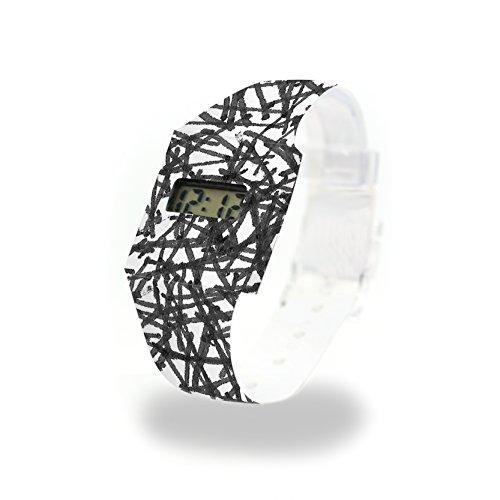 WILD STROKES - Pappwatch - Paperlike Watch - Digitale Armbanduhr im trendigen Design - aus absolut reissfestem und wasserabweisenden Tyvek® - Made in Germany, absolut reißfest und wasserabweisend