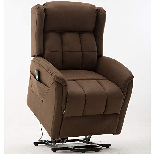 Bonzy Home Electric Power Lift Recliner Chair with Remote for Elderly, Faux Suede Leather Power Recliner with Remote for Bedroom Theater Room (Chocolate D124)