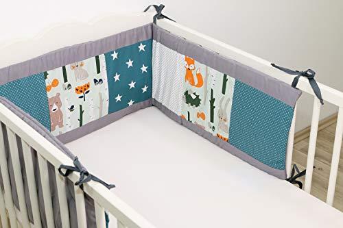 ULLENBOOM ® Nestchen Waldtiere Petrol (420x30 cm Baby Bettnestchen, Bettumrandung für 140x70 cm Babybett - Rundum, Motiv: Punkte, Sterne, Elefanten)
