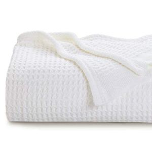 Bedsure 100% Cotton Thermal Blanket - 405GSM Soft Blanket in Waffle Weave for Home Decoration - Perfect for Layering Any Bed for All-Season - Queen Size (90 x 90 inches), White