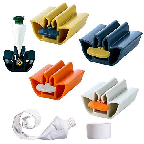 BONHHC Dispenser dentifricio Rolling Tube Porta Dentifricio/ Dispenser Dentifricio per Bagno/ 4 pezzi / Quattro colori