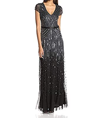 Cap-sleeve gown in full sparkling sequins featuring plunging V-neckline and satin waistband Concealed back zipper Lining Fabric - 100% polyester