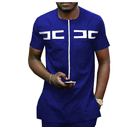 African Men Clothing Ankara Pants Set Dashiki Shirt 2 Piece Outfit Crop Top Attire Short Sleeve 1 11 M