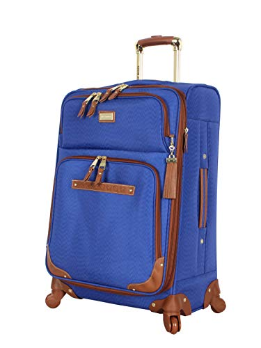Steve Madden Designer Luggage Collection - Expandable 24 Inch Softside Bag - Durable Mid-sized Lightweight Checked Suitcase with 4-Rolling Spinner Wheels (Global Blue)