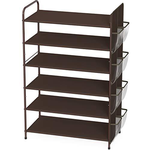 Simple Houseware 6-Tier Shoe Rack Storage Organizer 34-Pair w/ Side Hanging Bag, Bronze