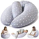 Bamibi® Coussin de Grossesse et Coussin d'allaitement - Oreiller de Maternité Multifonctionnel pour le Sommeil et l'allaitement de Bébé avec Housse Amovible 100% Coton et Coussin Intérieur (Cœurs)