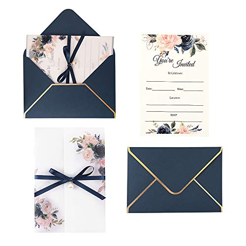 Doris Home Navy Blue Invitations Cards with Envelopes and Printed Inner Sheets for Bridal Shower Invite, Baby Shower Invitations, Wedding, Rehearsal