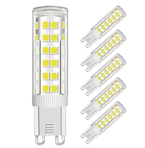 MENTA G9 Lampadina LED 7W (Equivalente a 60W Luce Bianca Fredda, Lampadine) Bagliore Romantico Temperatura 450Lm 6000K AC 220-240V Angolo del facio luminoso di 360 gradi CRI80, Set da 5
