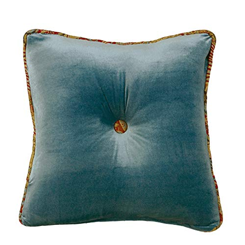 """HiEnd Accents San Angelo Western Teal Velvet Tufted Throw Pillow, Paisley Accent, 18"""" x 18"""""""