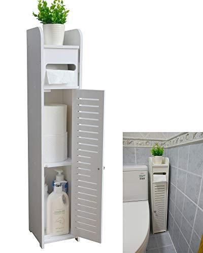 AOJEZOR Small Bathroom Storage Corner Floor Cabinet with Doors...