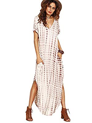 Stretchy fabric, very soft. Please kindly check the composition at each color's description. This dress is plus size design, comparing the size chart of Amazon with US you can find that. If you don't want it loose or big, select one or two sizes down...