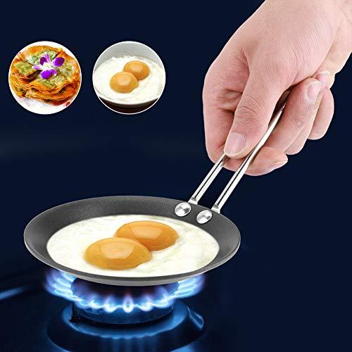 Mini padella carina, pentole antiaderenti, modello di uovo in camicia padella domestica piccolo wok cucina fornello(Steel Handle)