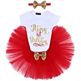 IBTOM CASTLE Baby Girl It's My 1st/2nd Birthday Cake Smash 3Pcs Shinny Sequin Bow Romper+Tutu Skirt+Headband+Leg Warmer Outfit Red(1 Years)(3pcs) One Size