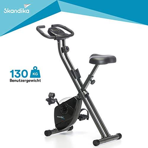 skandika Foldaway X-1000 Fahrradtrainer Heimtrainer klappbar, Bein- und Ausdauertrainer (inkl. Pulsmesser, Trainingscomputer mit Kalorienmessung bis 110kg) (schwarz)