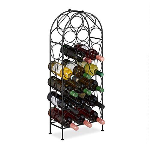 Relaxdays Portabottiglie, 20 Bottiglie, Decorativo, Cantinetta per la Cucina, Cantina, Bar, Metallo, 83x34x17 cm, Nero