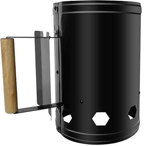 Sagrach Firewood Charcoal Lighter Coal Starter BBQ Barrel Steel Barbeque Chimney Starter Charcoal...