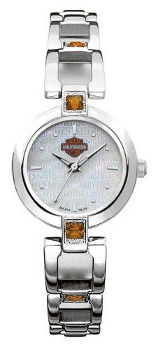 Harley-Davidson Women's Bulova Citrine Accented Wrist Watch 76L148