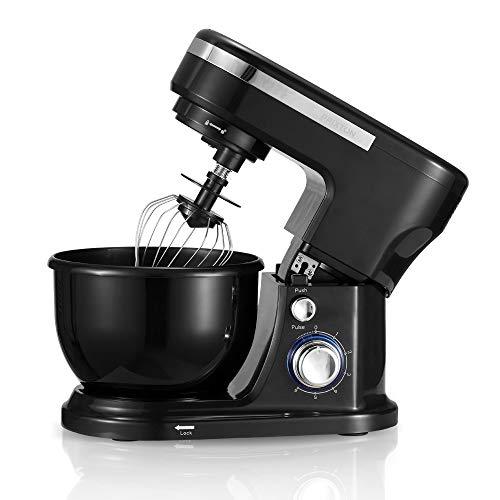 PRIXTON – Robot menager Robot pâtissier Multifonction : petrin, Batteur, mixeur, cuiseur Hachoir et blinder, Puissance 1000W, 6 Vitesses différentes, Accessoire, Design Noir   KR100
