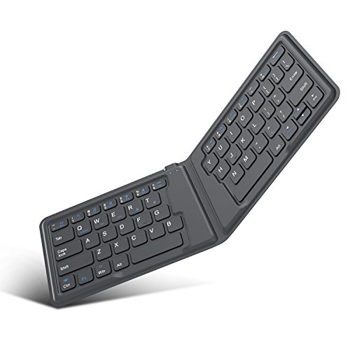 MoKo Teclado Plegable Universal,Teclado Inalámbrico Bluetooth Ultracompletamente Portátil Recargable, Versión Estadounidense/Internacional, para Teléfonos Inteligentes iOS, Android y Windows, Gris