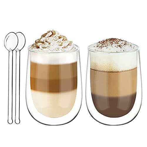 Joeyan Bicchieri a Doppia Parete Set di 2-350ml Bicchieri Termici da caffè - Tazza in Vetro Borosilicato per Latte, Cappuccino, Succo, tè, Acqua - Gratuito 2 Cucchiai
