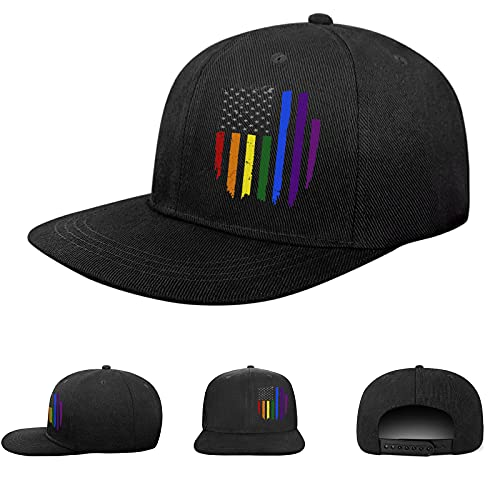 Snapback Hats for Men Gay Pride Flag hat LGBTQ Trucker Flat...