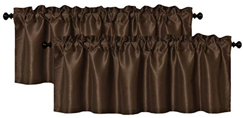 Aiking Dwelling (Pack of two) Stable Fake Silk Window Valance, 56 by 16 Inches, Brown