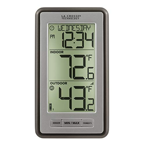 La Crosse Technology Indoor Or Outdoor Temperature WS-9160U-IT Digital Thermometer, Titanium