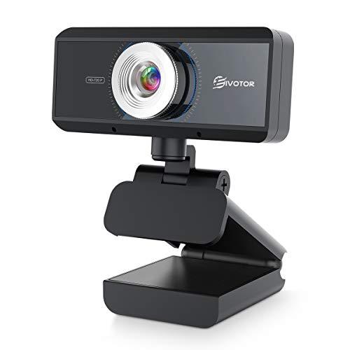 EIVOTOR USB Webcam 720P con Microfono HD Telecamera PC Desktop Streaming Webcam per Registrazione, Zoom, Youtube, Skype, Videochiamate, Studio, Conferenza, Supporta Windows, Android, Linux