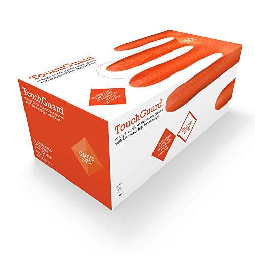 TouchGuard, Guanti monouso in nitrile, arancioni, con motivo a rombi in rilievo, senza talco, confezione da 100, taglia XL