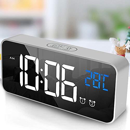 tronisky Digitaler Wecker, LED Digital Wecker Spiegel Tischuhr USB Wiederaufladbar Reisewecker mit 2 Alarmen/Snooze/Temperatur Anzeige/Sprachsteuerung Funktion, 4 Helligkeit, Silber