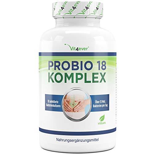 Vit4ever® Probio 18 Komplex - Kulturen Komplex mit 18 Bakterienstämmen + FOS - 180 magensaftresistente Kapseln - 13 Milliarden Milchsäurebakterien pro Tag - Hochdosiert - Vegan