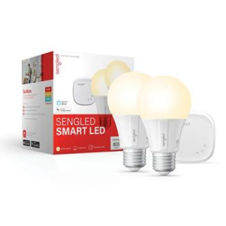 Sengled Smart light Bulb Starter Kit, Smart Bulbs that Work with Alexa & Google Home, Smart LED Light Bulb A19 Soft White Light (2700K), 9W (60W Equivalent), 2 Smart Bulbs & 1 Smart Hub